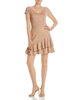 AQUA - Ruffled Faux Suede Dress - 100% Exclusive