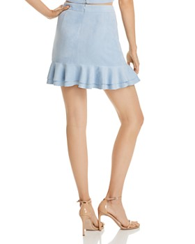 AQUA - Ruffled Faux Suede Skirt - 100% Exclusive
