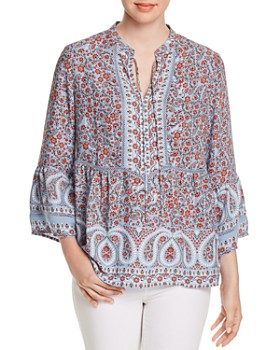 Single Thread - Floral-Print Bell-Sleeve Blouse