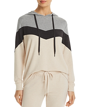 Pj Salvage French Terry Color-Blocked Chevron Hoodie-Women