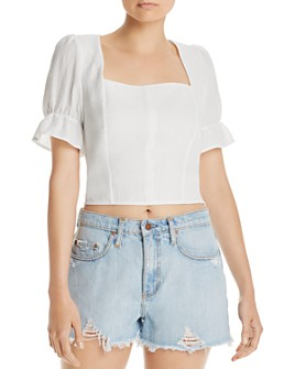 AQUA - Puff-Sleeve Cropped Top - 100% Exclusive