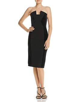 Black Halo - Lena Strapless Velvet-Inset Dress
