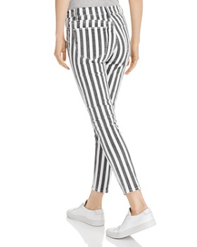 FRAME - Le High Skinny Crop Beatnik Stripe Jeans in Noir Multi