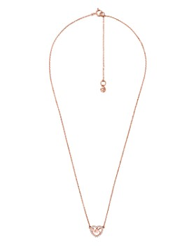 Michael Kors - Pavé Logo Heart Pendant Necklace in 14K Gold-Plated Sterling Silver, 14k Rose Gold-Plated Sterling Silver or Sterling Silver, 16""
