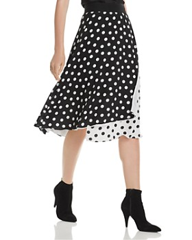 Alice and Olivia - Nanette Faux-Wrap Polka Dot Midi Skirt