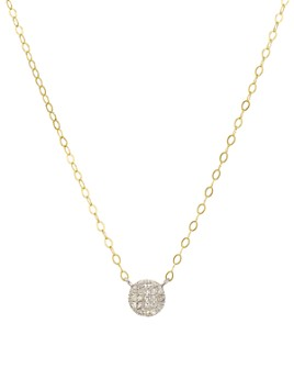 "Bloomingdale's - Diamond Disc Pendant Necklace in Gold-Plated Sterling Silver & Sterling Silver, 15.5"" - 100% Exclusive"