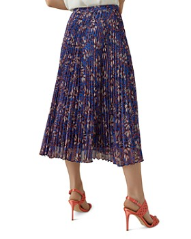 KAREN MILLEN - Pleated Botanical Silk Midi Skirt