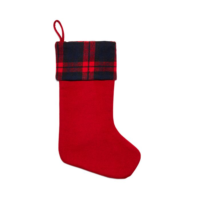 Bloomingdale's - Plaid Cuff Red Stocking - 100% Exclusive