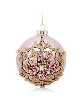 Bloomingdale's - Pink & Gold Embellished Glass Ball Ornament - 100% Exclusive