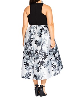 City Chic Plus - Amelia Floral-Print Fit-and-Flare Dress