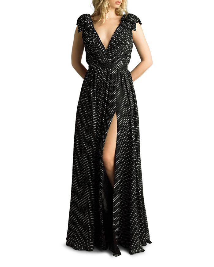 Basix - Plunging Polka-Dot Gown