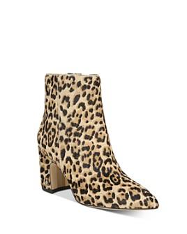 Sam Edelman - Women's Hilty Leopard-Print Block Heel Ankle Booties