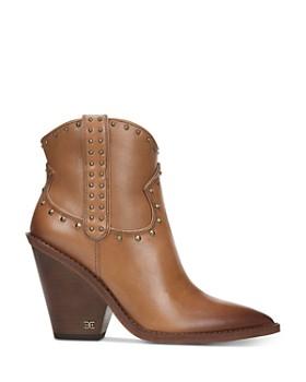 Sam Edelman - Women's Iris Studded Leather Block Heel Booties