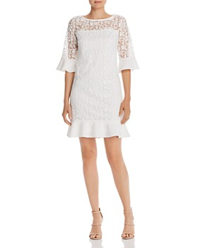 Adrianna Papell - Embroidered Bell-Sleeve Shift Dress