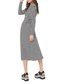 MICHAEL Michael Kors - Striped Matte-Jersey Midi Dress