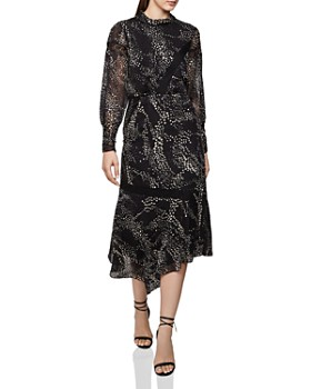 REISS - Luiza Printed Burnout Midi Dress
