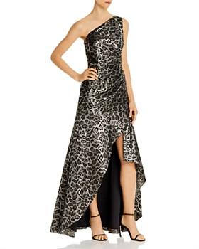 Aidan Mattox - One-Shoulder Leopard Jacquard Gown