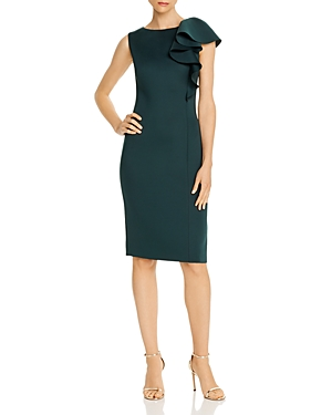 Eliza J Dresses ASYMMETRIC DRAPED RUFFLE SHEATH DRESS