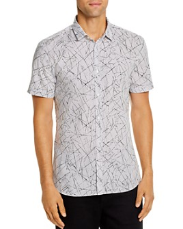 HUGO - Empson Short-Sleeve Abstract-Print Slim Fit Shirt