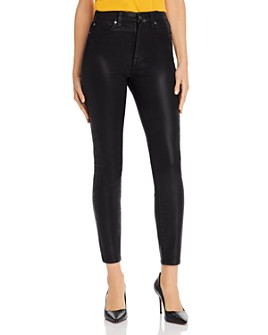 7 For All Mankind - Skinny Ankle Jeans in Black Coated