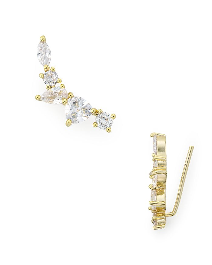 Jules Smith Clara Faceted-Stone Ear Climbers In Gold