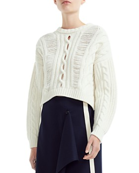 Maje - Martina Openwork Cable Knit-Detail Sweater