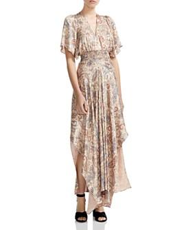 Maje - Rachel Smocked Paisley-Print Maxi Dress