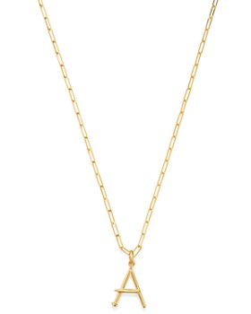 """Zoe Lev - 14K Yellow Gold Large Nail Initial Necklace, 18"""""""