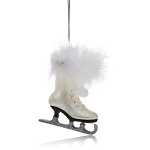 Kurt Adler Noble Gems White Ice Skate Ornament
