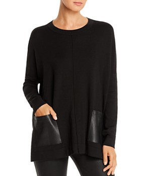 Donna Karan - Faux-Leather Pocket Sweater