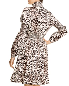 Notes du Nord - Maxine Leopard-Print Smocked Dress
