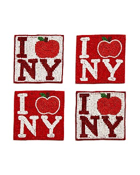 "Sudha Pennathur - ""I Apple NY"" Beaded Coasters, Set of 4"