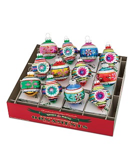 "Christopher Radko - Shiny Brite™ 1.75"" Decorated Rounds & Shapes Ornaments, Box of 12"