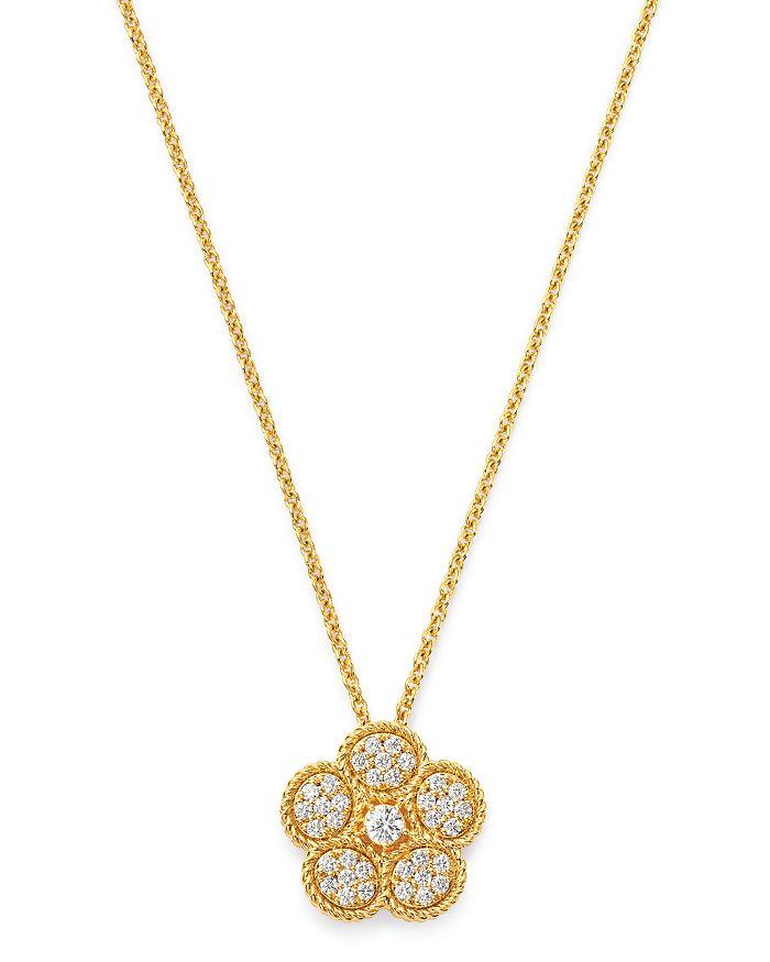 """Roberto Coin - 18K Yellow Gold Daisy Diamond Pendant Necklace, 17.5"""" - 100% Exclusive"""