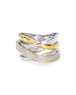 Bloomingdale's - Diamond Crisscross Ring in Sterling Silver & Gold-Plated Sterling Silver, 0.22 ct. t.w.  - 100% Exclusive