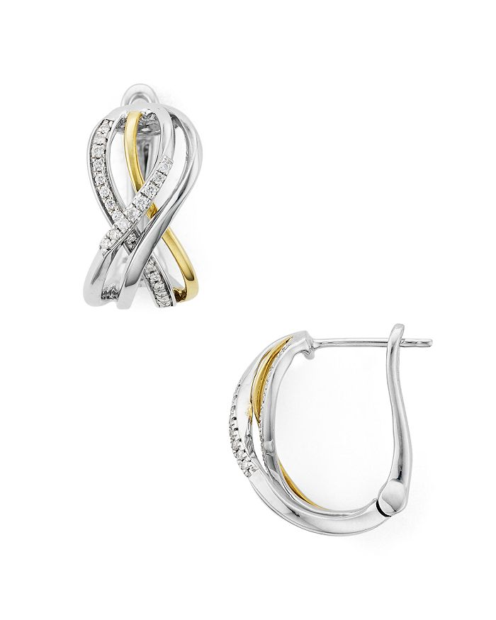 Bloomingdale's - Diamond Earrings in 14K Gold-Plated Sterling Silver & Sterling Silver, 0.2 ct. t.w. - 100% Exclusive