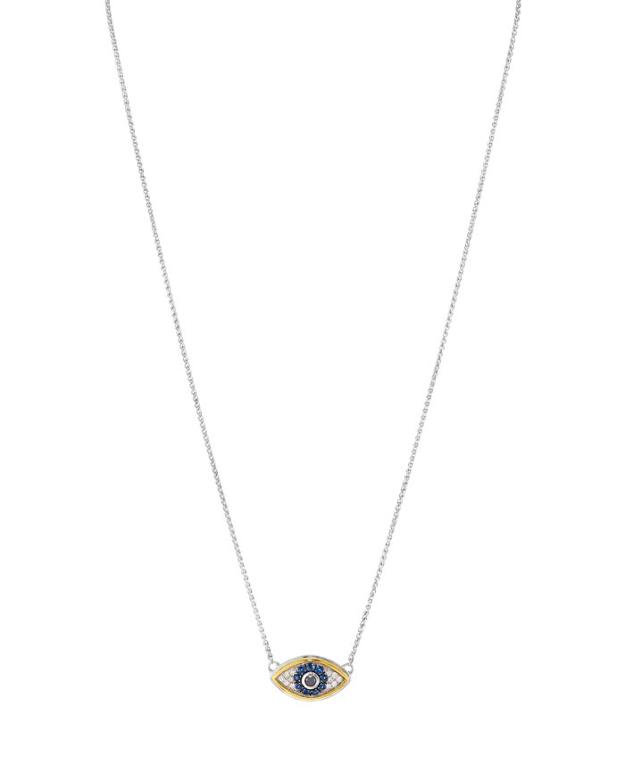 """Bloomingdale's Bloomingdale's Marc & Marcella Diamond Pendant Necklace in Sterling Silver & 14K Gold-Plated Sterling Silver, 0.14 ct. t.w., 17"""" - 100% Exclusive  