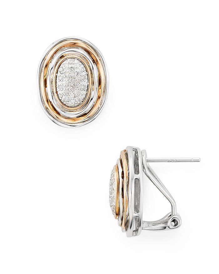 Bloomingdale's - Diamond Oval Earrings in Sterling Silver & Rose Gold-Plated Sterling Silver, 0.15 ct. t.w. - 100% Exclusive