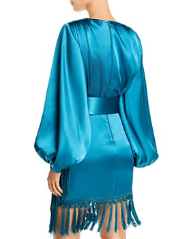BRONX AND BANCO - Monica Satin Fringed Mini Dress