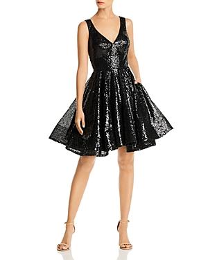 Mac Duggal Short Sequin Fit-and-Flare Dress-Women