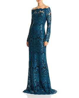 Tadashi Shoji - Off-the-Shoulder Sequin Embroidered Gown