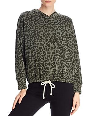 Sundry Leopard Print Drawstring Sweatshirt