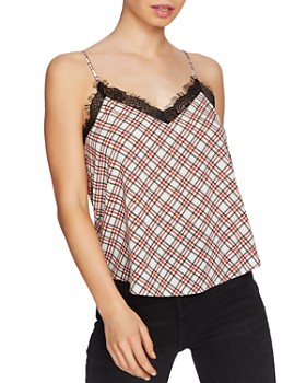 1.STATE - Plaid Lace-Trim Cami