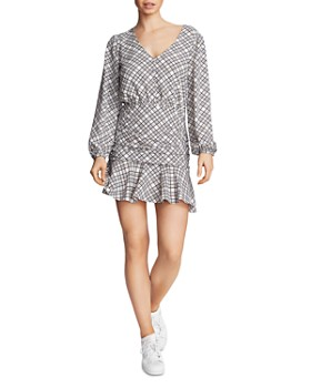 1.STATE - Ruched Plaid Dress