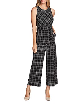 VINCE CAMUTO - Belted Plaid Jumpsuit