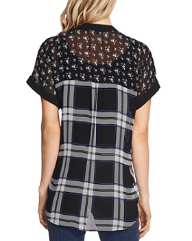 VINCE CAMUTO - Windowpane Floral Print Top