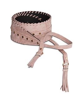BCBGMAXAZRIA - Tie-Front Tassel Nubuck Leather Belt