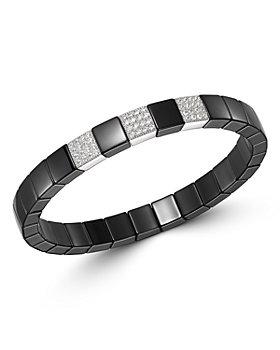 Roberto Demeglio - 18K White Gold & Black Ceramic Scacco Diamond Stretch Bracelet