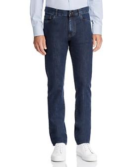 Canali - Dark Wash Stretch Denim Straight Fit Jeans in Blue