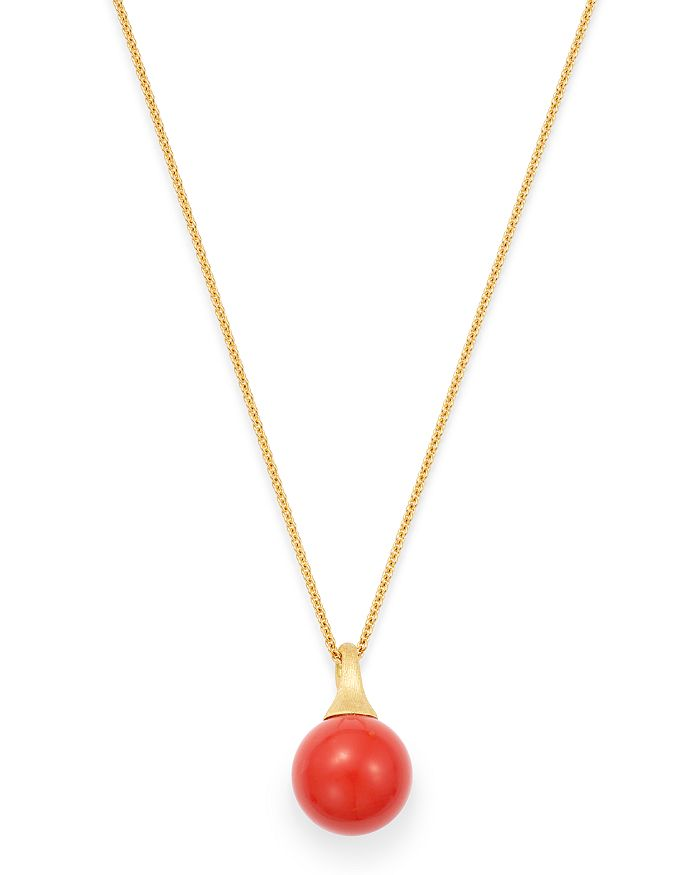 """Marco Bicego - 18K Yellow Gold Africa Coral Pendant Necklace, 16.75"""""""